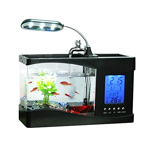Docooler USB Desktop Mini Fish/small fry Tank Aquarium with LED Clock (Fish Tank Fry Holder)