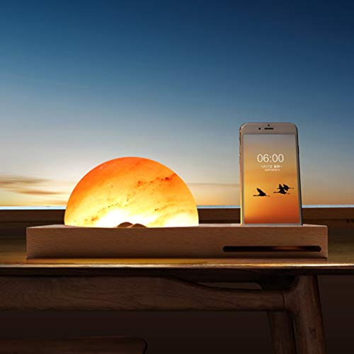 Kariwell Sunrise Bedside Lamp Ambient Meditation Himalayan Salt Lamp with Wireless Charger Sound Amplifier, Charger Stand for iPhone/Samsung Glaxy/LG/HTC/Google Nexus/Nokia - Lamp Sun Handcrafted