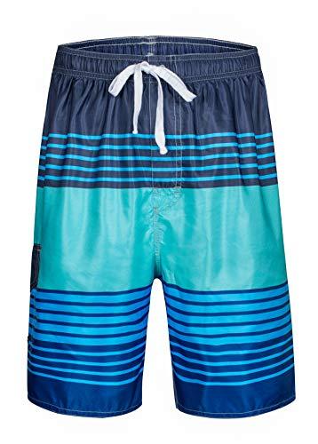 Clothin Men's Boardshort Swim Trunks Beach Quick Dry Swimming Shorts(Blue Green(Elastic) 34)
