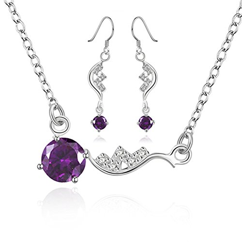 Les Miserables Costumes Ideas (Drops Jewelry Set Necklace Dangle Earrings Silver Plated Inlaid Big Purple Cubic Zircon for Womens)