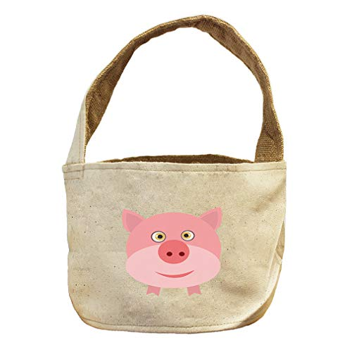 Style in Print Pig Round Animals Canvas and Burlap Storage Basket by Style in Print