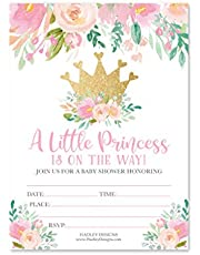 25 Princess Baby Shower Invitations, Sprinkle Invite for Girl, Coed Crown Royalty Gender Reveal Theme, Cute Royal Floral Flowers DIY Fill or Write in Blank Printable Card, Pink Gold Party Supplies
