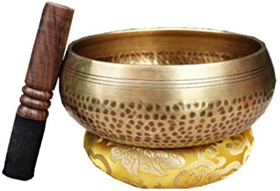 Unafreely チベット銅仏サウンド歌ボウルセット 瞑想楽器 打楽器 ヨガ 瞑想 不安 ストレス解消 円座 スティック付き (口径9.5cm)