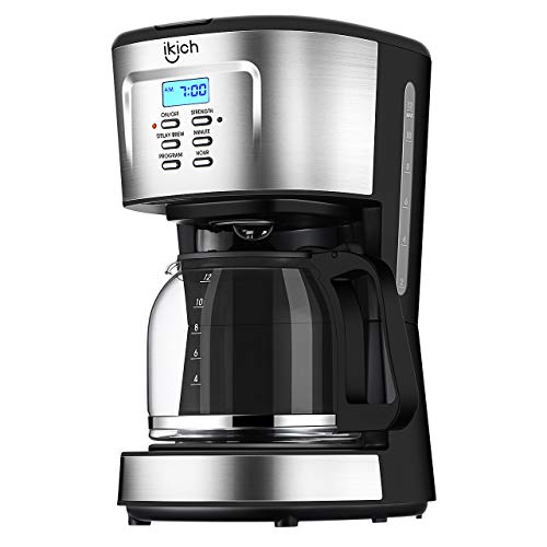 "Coffee Machine, IKICH 12 Cup Coffee Maker, 24h Programmable Smart Drip Coffeemaker Coffee Brewer with ""5+3"" Unique Function Design, Glass Thermal Carafe, Permanent Filter and Stainless Steel Decoration for Home and Office"