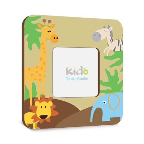Jungle Animals Personalized Photo Picture Frame for Kids Bedroom Baby Nursery Wall Art, Custom Gift for Boys Bedroom
