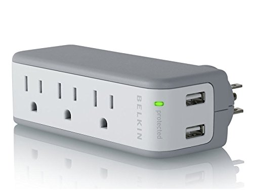 Belkin BZ103050-TVL Mini Surge Protector with USB Charger - 1 AMP (Retail (Mini Travel Plug)