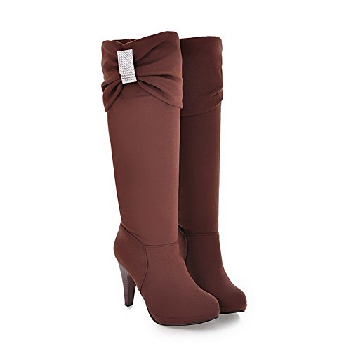 AgooLar Women's Solid Imitated Suede High-Heels Pull-On Round Closed Toe Boots Brown 9Z7SLR9x