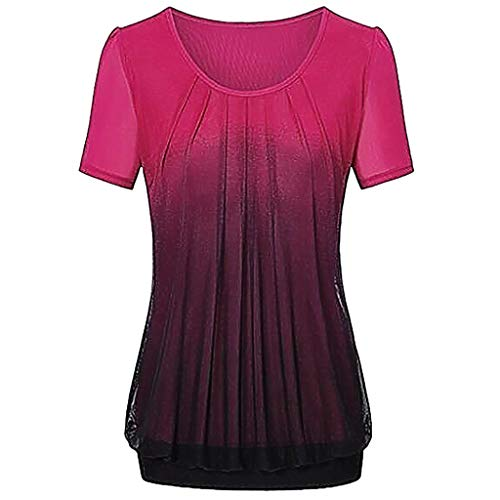 Wensy Women Casual Gradient Printed Pleated Plus Size Short Sleeve T-Shirt Tops Blouse(Red,XXXXL)