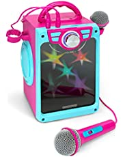 Croove Karaoke Machine for Kids - Karaoke Machine for Girls with 2 Microphones – Bluetooth/AUX/USB Connectivity and Flashing Disco Lights - (Pink)
