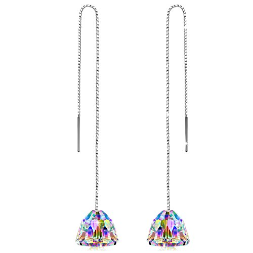 PN PRINCESS NINA Earrings Gifts Women Drop Dangle Aurora Borealis Sterling Silver Swarovski Crystal Hypoallergenic Earrings for Wife Jewelry Earrings for Her Valentine Gift for Her