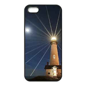 Custom Cover Case with Hard Shell Protection for Iphone 5,5S case with Lighthouse lxa#378373