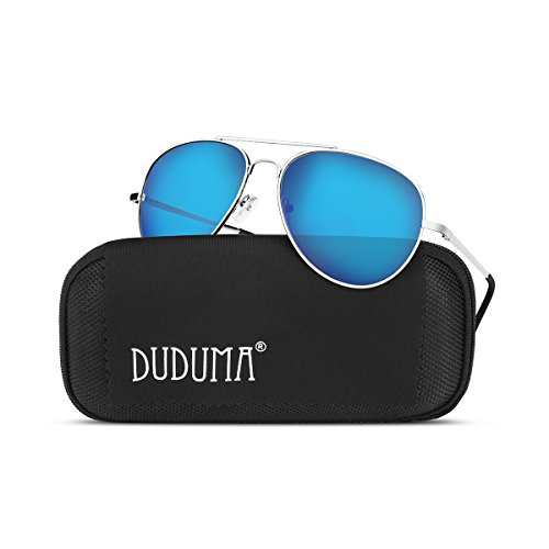 Duduma Premium Full Mirrored Aviator Sunglasses w/ Flash Mirror Lens Uv400(Silver frame/Blue mirror - Aviator Blue Sunglasses Lens