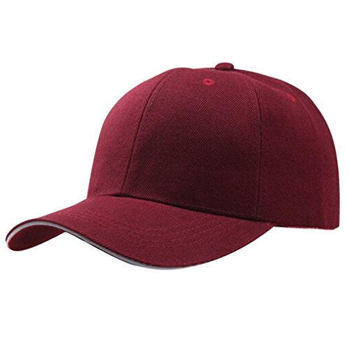 l Cap - Adjustable Plain Low Profile Six Panel Sun Hat Polo Style (Wine) ()