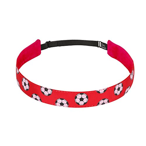 (Non Slip Headbands for Girls | BaniBands Soccer Headband for Women | Fun Colors and Patterns, Unique No Slip Headband Design | Sports Themes for Soccer | Soccer-Red )
