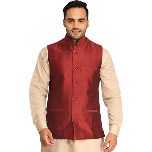 413mrOYcnSL. SS500  - Exotic India Men's Silk Waistcoat