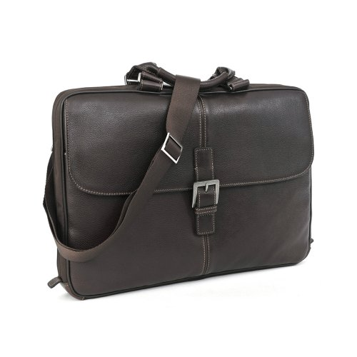"""Boconi Bags and Leather Tyler - Tumbled 15"""" Portfolio Brief Messenger Bag Coffee Leather"""