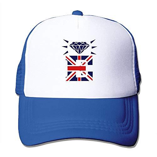 Unisex British Diamond Crown Jubilee E On White Trucker Cap Suitable for Indoor Outdoor Activities RoyalBlue