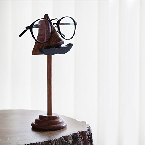 storeindya Wooden Eyeglass Spectacle Holder Handmade Nose Shaped Beard Stand for Office Desk Home Décor Gifts (Black Mustache with Stand) -