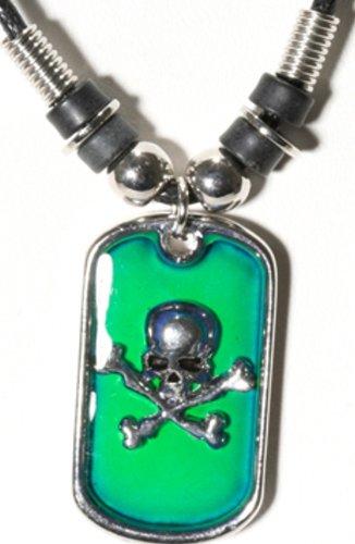 Amazon skull crossbones dog tag pendant mood necklace jewelry skull crossbones dog tag pendant mood necklace aloadofball Gallery