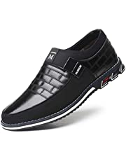 Veslexth Mens Yokest Business Loafers Driving Leather Classic Sneakers Derby Breathable Comfortable Brogue Shoes