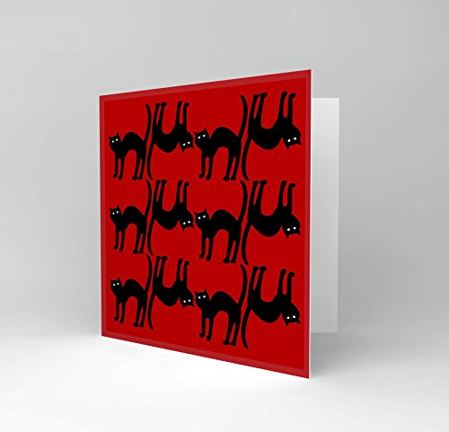 NEW RED CATS ANIMAL BLACK HALLOWEEN SCARED GREETINGS BIRTHDAY CARD ART (Cat Halloween Scared)