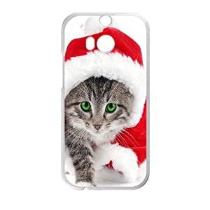 Christmas Cat HTC One M8 Cell Phone Case White D5788360
