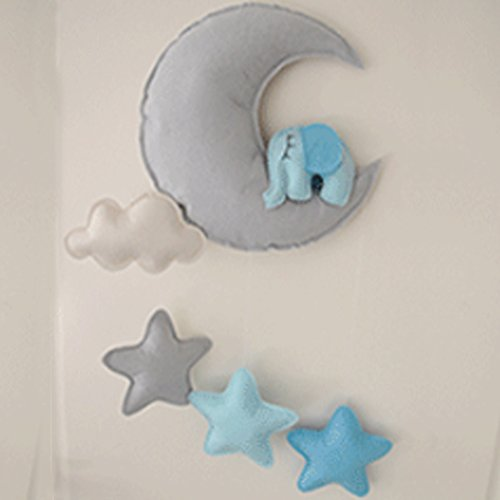 Loghot The Moon Stars Elephant Felt Decorative Wall Hanging DIY Decorations for Baby Children Theme Photo Props Backdrops (Blue) (Wall Felt)