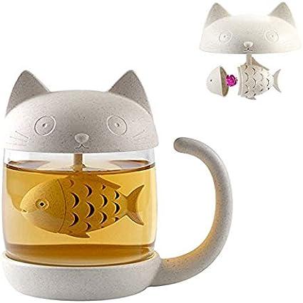 bignosedeer tazza di tè alla tazza di vetro del gatto della bottiglia dell`acqua con il filtro dell`infusore del tè la211