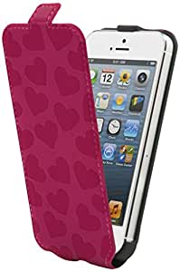 Muvit MUSLI0436 - Funda con tapa para iPhone 5/5s, diseño de corazones de color fucsia