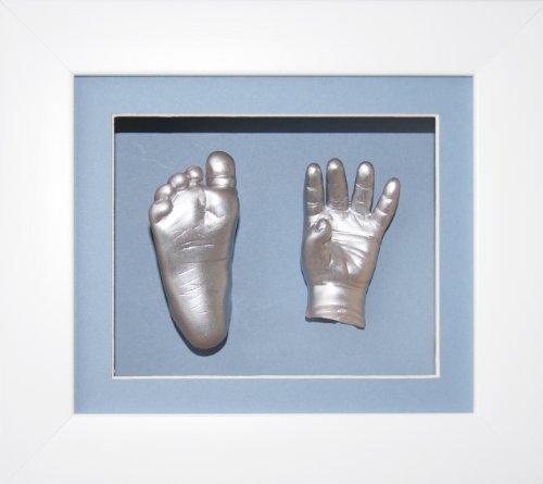 Baby Boy Casting Kit, 6x5'' White 3D Box Display Frame / Blue Mount & Backing / Metallic Silver Paint by BabyRice