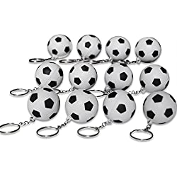 Novel Merk 12 Pack Soccer Ball Keychains for Kids Party Favors and School Carnival Prizes