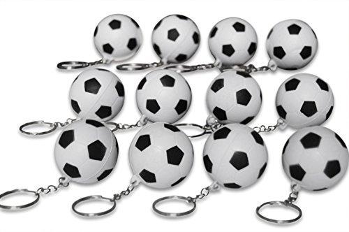 Novel Merk 12 Pack Soccer Ball Keychains for Kids Party Favors and School Carnival Prizes -