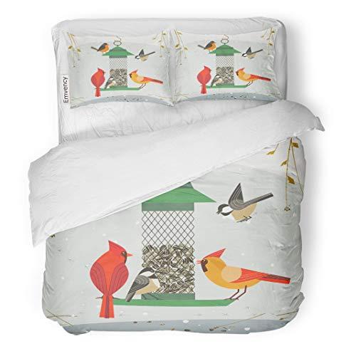 Semtomn Decor Duvet Cover Set Twin Size Cute Birds Red Northern Cardinal Chickadee Robin Comic Cartoon 3 Piece Brushed Microfiber Fabric Print Bedding Set Cover