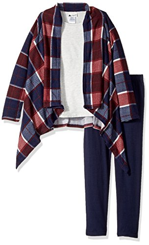 Youngland Girls' Little Tunic, Legging and Cozy Cardigan Outfit, Blue/Multi, 6