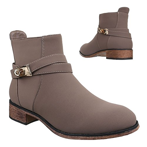 Ital-Design Damen Schuhe, B2897-KB, Stiefeletten Boots Grau Braun