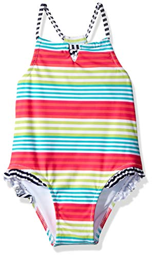 (KIKO & MAX Little Girls' One Piece Swimsuit Bathing Suit, Multi Stripe Halter, 6X )
