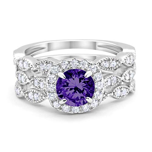Amethyst Engagement Wedding Set - Blue Apple Co. Halo Art Deco Three Piece Wedding Engagement Bridal Set Ring Band Solid Simulated Amethyst 925 Sterling Silver, Size-11