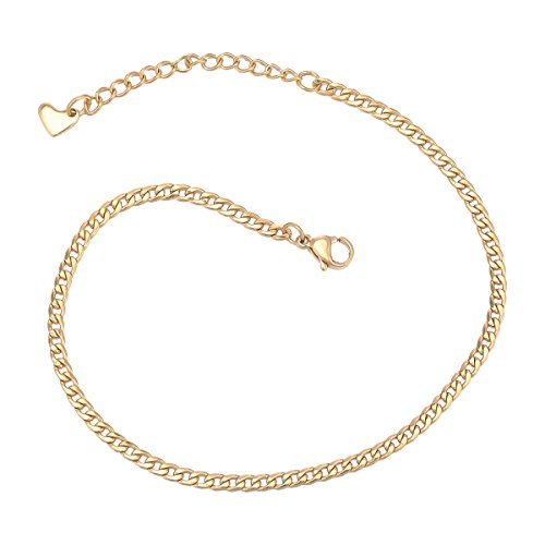KY 3MM Gold-plated Anklet Charm Adjustable Foot Jewelry for Women, Girls Twist Rope Lobster Clasp Chain Anklet Stainless (Gold Plated Anklet)