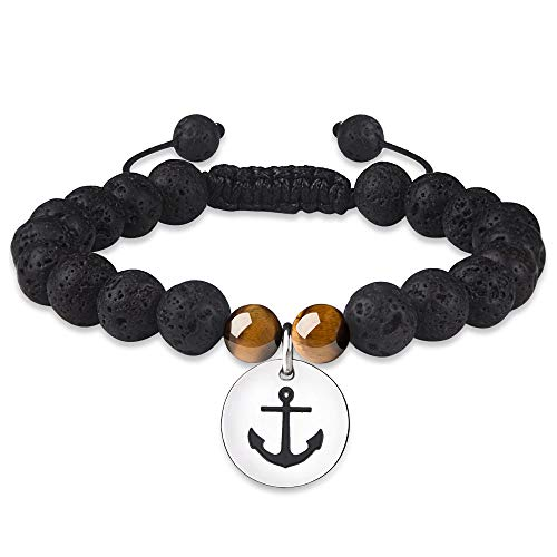 Tarsus Anchor Adjustable Lava Bracelet Essential Oils Rock Stone Anxiety Diffuser Beads Bracelets for Women Natural Healing Beaded Bracelet