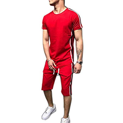 Men Stripes Shorts Set Two-Piece Tracksuit Outfits Short Sleeve T-Shirt and Shorts Casual Sports Wear (M, Red)