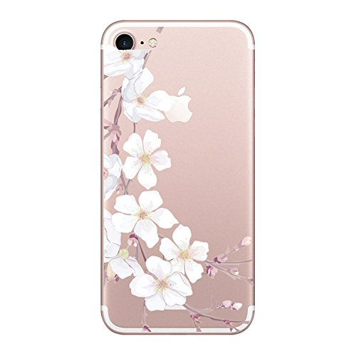 iPhone 8 Plus Case for girls,Clear Floral Series Slim-Fit Anti-Scratch Shock Proof Anti-Finger Print Flexible TPU Gel Case For iPhone 8 Plus 5.5 inch Display -Rose Flower (8, iPhone 8 (Series Clear Corner)