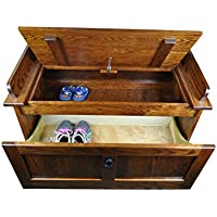 Mission Shoe Storage Bench Solid Oak Wood 39 Chest - Amish Custom Handmade Pick Your Own Stain – Oak Wood / Michaels Stain