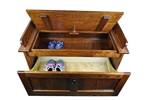 Mission Shoe Storage Bench Solid Oak Wood 39