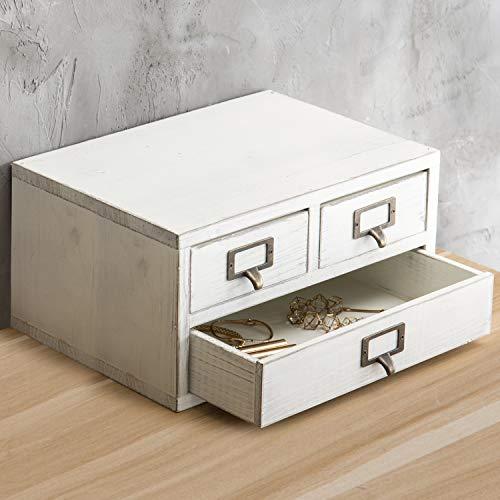 3 Drawer White Wooden Desk Organizer Top Desk Organizers