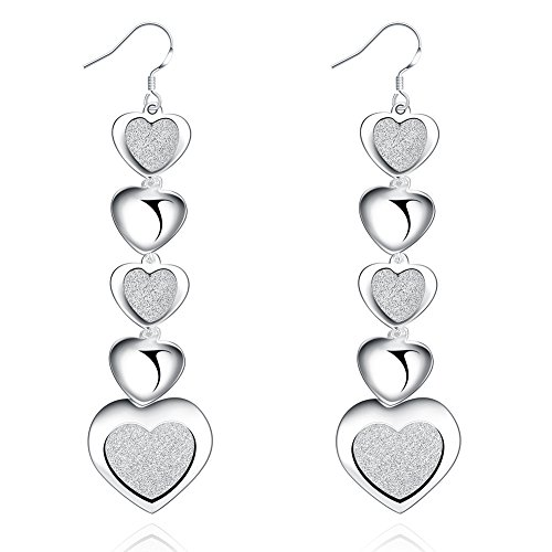 SunIfSnow Women Exquisite Heart Crystal Drop Silver Plated Pendant Long Earrings