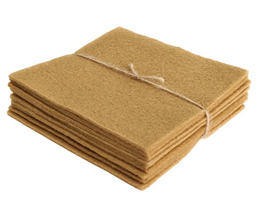 (National Nonwovens Honey Biscuit Tan - 10 Wool Felt Sheets - Pure 100% Wool - Qty 10 5in x 5in)