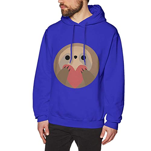 (Onge George St Sloth Heart Printed Drawstring Pullover Men's/Boys Hoodies Drawstring Closure/Pullover Hoodie/Hoodie/Sweater/Sweatshirt XL Blue)
