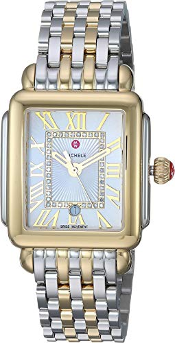Michele Women's Deco Madison Mid Two-Tone - MWW06G000013 Two-Tone/Silver/White Sunray Dial One Size