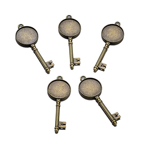 Vintage Glass Cabochons - Beadthoven 10pcs Vintage Tibetan Style Alloy Carved Flower Sided Skeleton Key Pendant Cabochon Bezel Settings Fit Tray in 20mm (Nickel Free,Antique Bronze)