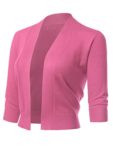 ARC Studio Women's Classic 3/4 Sleeve Open Front Cropped Cardigans (S-XL) S Fuchsia ()